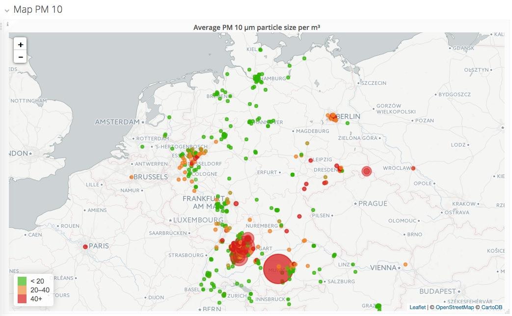 luftdaten.info - Grafana Worldmap